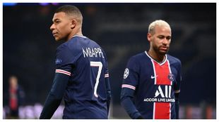 Kylian Mbappe and Neymar in action for PSG this season.