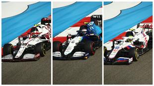 Giovinazzi, Latifi y Mazepin, durante la primera carrera de la...