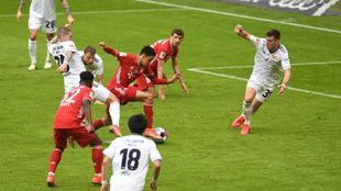 Musiala, en el gol del Bayern.