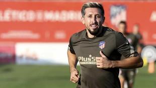 Herrera durante un entrenamiento con el Atlético