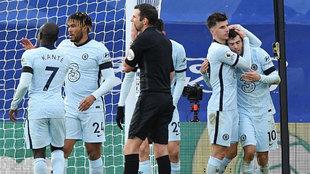 Los jugadores del Chelsea celebran uno de sus cuatro goles al Palace.
