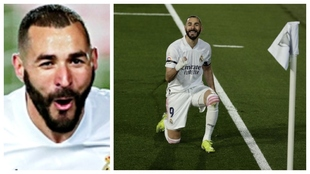 Karim Benzema celebrating his backheel goal against Barcelona.