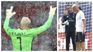 Un montaje con una imagen de Navas y otras del portero con Zidane.