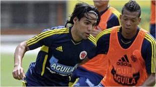 Falcao y Guarín, en un entrenamiento de la Selección Colombia.