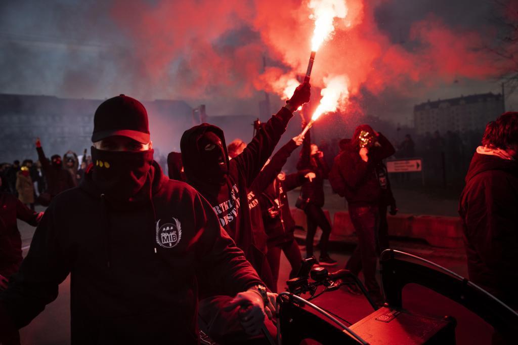 Manifestación negacionista y contra las medidas de restricción en Copenhague (Dinamarca)