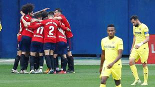 Los jugadores de Osasuna celebran uno de los goles