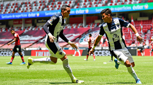 Maximiliano Meza anotó el segundo tanto de los Rayados en la victoria...