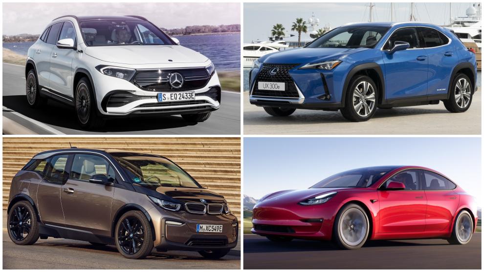 Mercedes-Benz EQA, Lexus UX 300e, BMW i3 y Tesla Model 3.