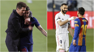 Diego Simeone with Angel Correa, and Karim Benzema and Lionel Messi...