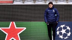 Pochettino, entrenador del PSG, durante un encuentro de la Champions...