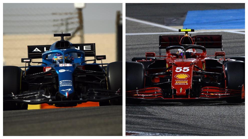 Alonso y Sainz, en el circuito de Sakhir.
