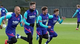 Braithwaite, Piqué, Sergi Roberto y Riqui Puig