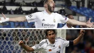 Raúl y Benzema celebrando un gol en la Champions.