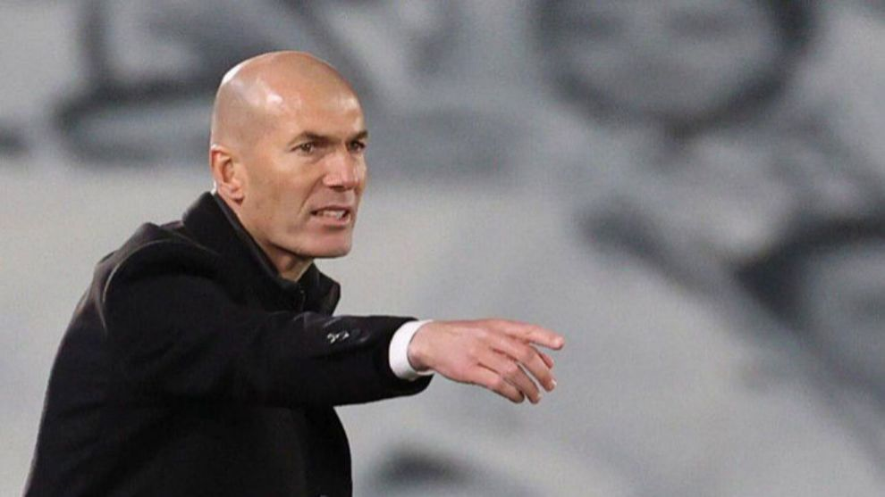 Zidane, en el partido de ida ante el Liverpool.