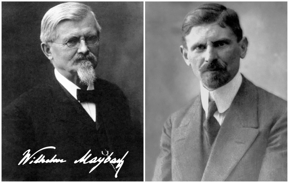 Wilhelm Maybach (izqda) y su hijo Karl Maybach.