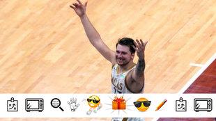 Luka Doncic sonríe tras anotar su último milagro ante los Grizzlies