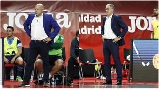 Tino Pérez y Andreu Plaza, entrenadores de Movistar Inter y Barça