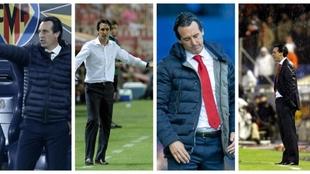 Unai Emery at Villarreal, Sevilla, Arsenal and Valencia.