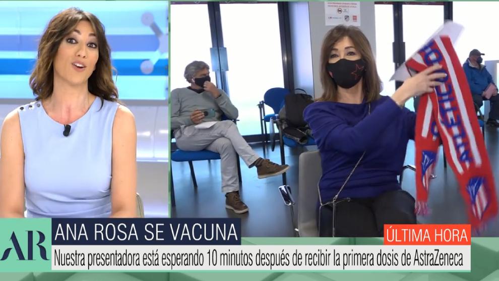 Ana Rosa Quintana - vacuna - AstraZeneca - directo -bufanda - Atletico