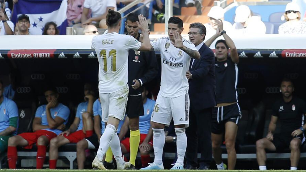 James Rodriguez replaces Gareth Bale during their time together at Real Madrid.