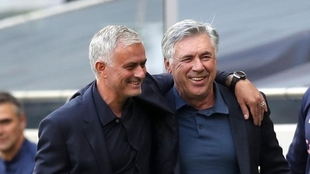 Jose Mourinho and Carlo Ancelotti when Tottenham and Everton met in...