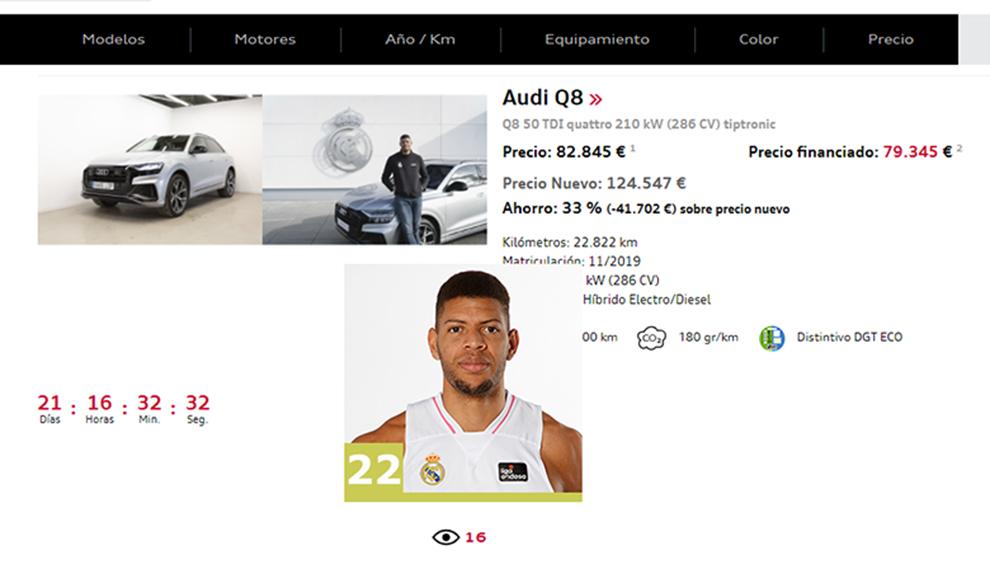El Audi Q8 de Walter Tavares está a la venta