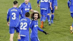 Los jugadores del Getafe celebran un tanto esta temporada.