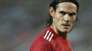 Cavani, en un partido con el United.