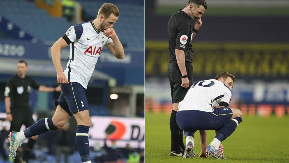 Harry Kane celebra uno de sus goles y se duele ante el Everton.