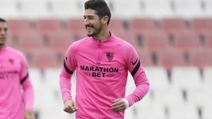Sergio Escudero (31), en un entrenamiento con el Sevilla