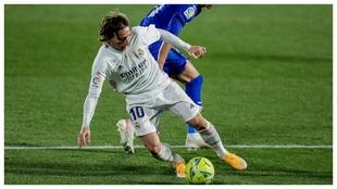 Modric, durante el partido con el Getafe.