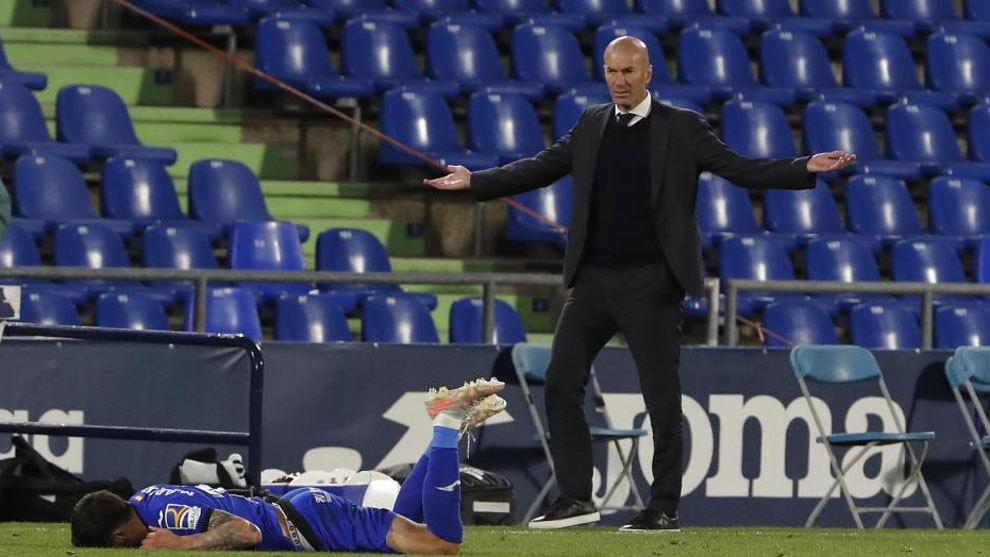 Zinedine Zidane, durante el partido ante el Getafe