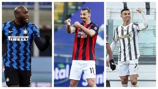 Romelu Lukaku (Inter), Ibrahimovic (Milan) y Cristiano Ronaldo...