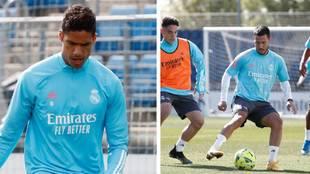 Varane, en el entrenamiento de esta mañana, y Hazard con el grupo la...