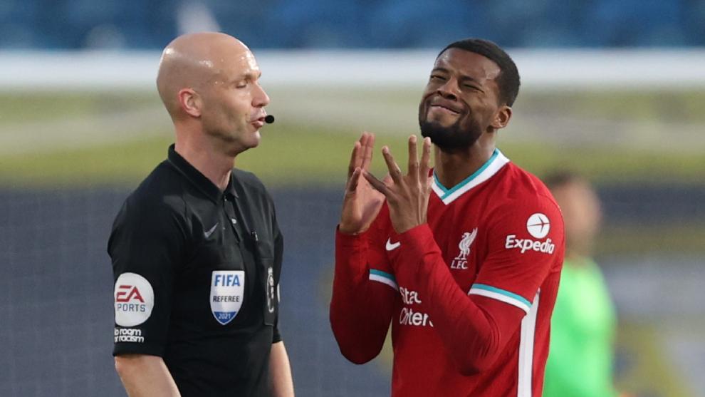 Lamento de Wijnaldum en el duelo del Liverpool ante Leeds.
