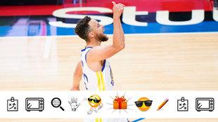 Stephen Curry celebra una canasta ante los Sixers
