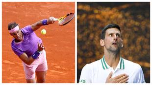Nadal y Djokovic, en acción