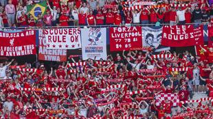 Aficionados del  Liverpool en la final de la Champions del...