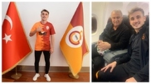 Kerem Aktürkoglu, en su presentación y junto a Fatih Terim, con el...