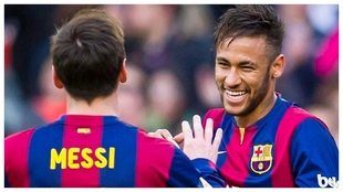 Neymar, Messi, Barcelona: Neymar y Messi celebran un gol
