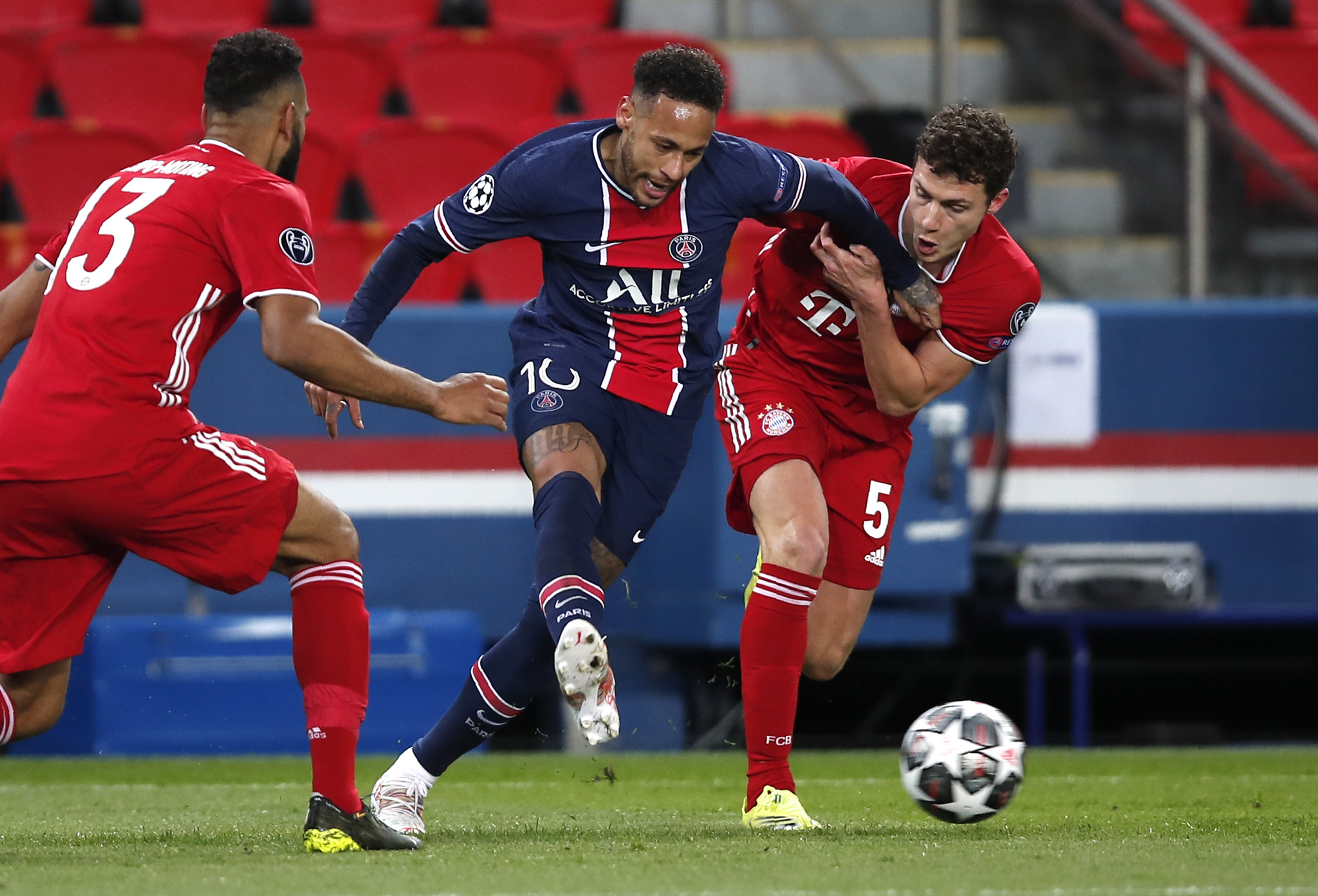 Paris Saint-Germain forward Neymar in action against Bayern Munich. Both teams are not in the European Super League.