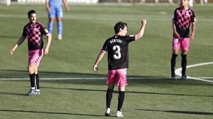 Ozkoidi celebra el gol que marcó al Fuenlabrada