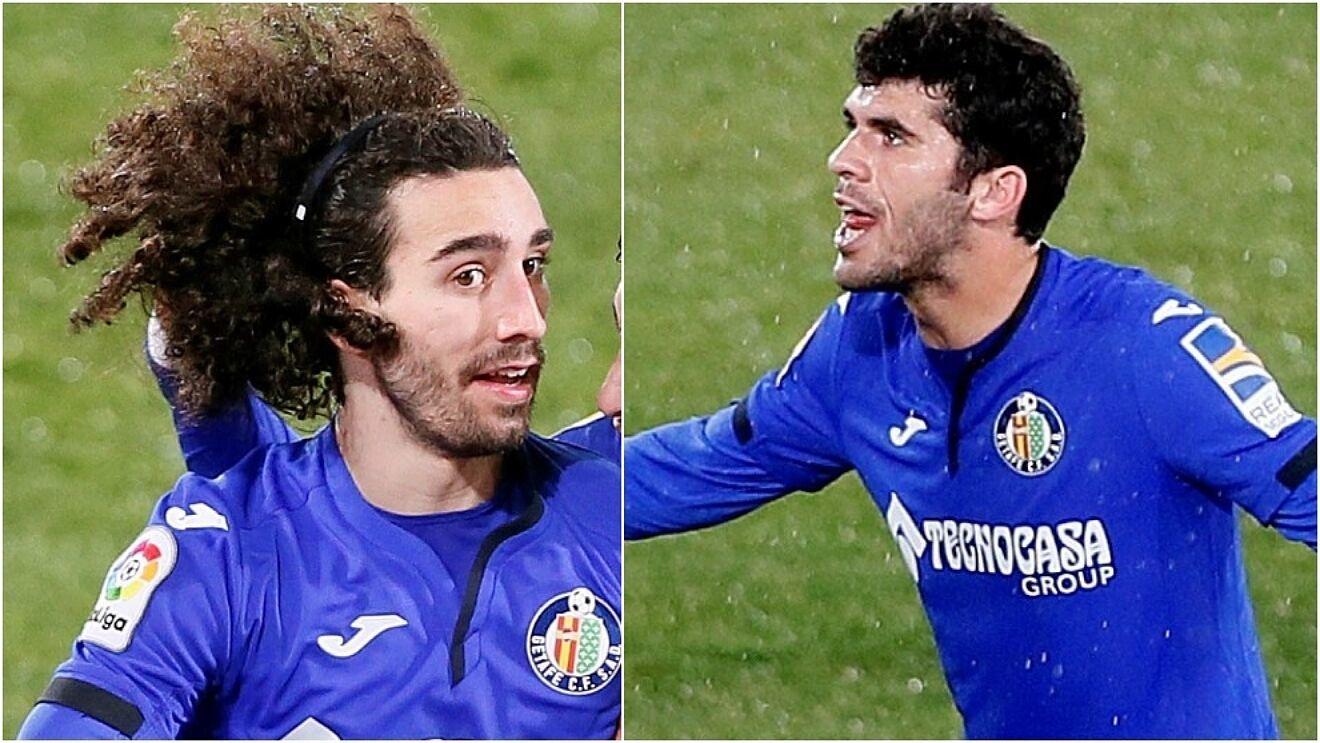 Marc Cucurella and Carles Alena in action for Getafe.