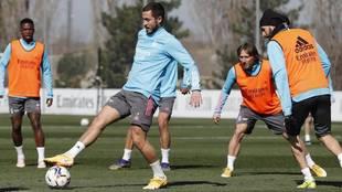 Hazard, en un entrenamiento en Valdebebas.