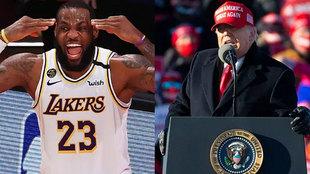 Montaje con LeBron James y Donald Trump durante la última campaña...
