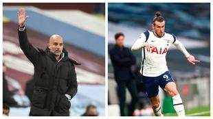 Pep Guardiola, entrenador del City, y Gareth Bale, jugador del...
