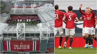 Montaje con el estadio y varios jugadores del Manchester United
