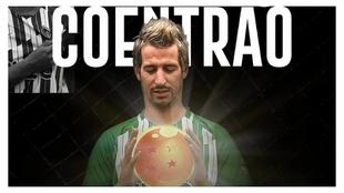 Fábio Coentrao, presentado con una 'bola de dragón'.