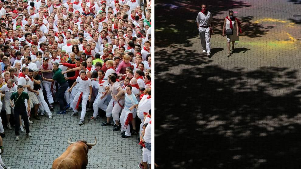 A la izquierda una imagen de los Sanfermines 2019 y a la derecha una de las fiestas de 2020 /