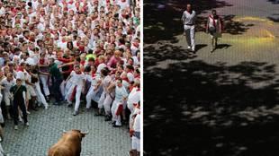 A la izquierda una imagen de los Sanfermines 2019 y a la derecha una...